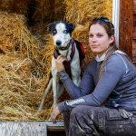 Musher Morgan Larson with her dogs